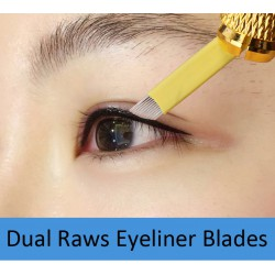 Eyeliner Slanted Tattoo Needles with Dual Rows