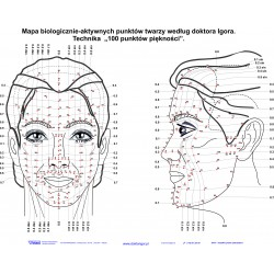 Poster of biologically active facial points 84x60 cm